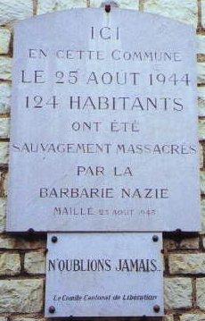 Plaque commémorative du massacre de Maillé