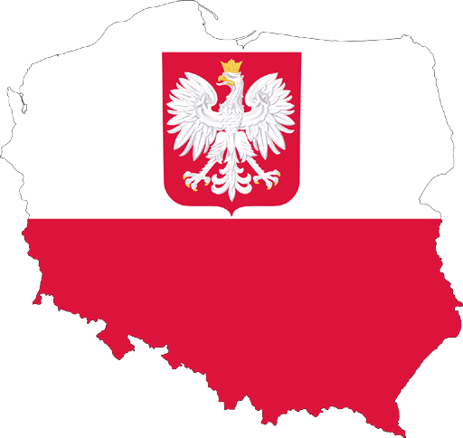 Poland, represented with its territory, its emblem and its colors.