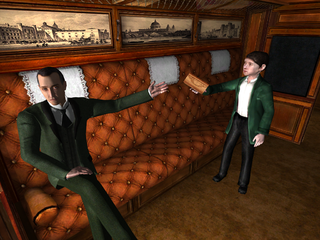 Sherlock Holmes and Hercule Poirot as a child in a video game.