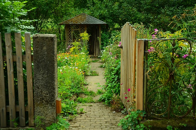 A garden with an open door.